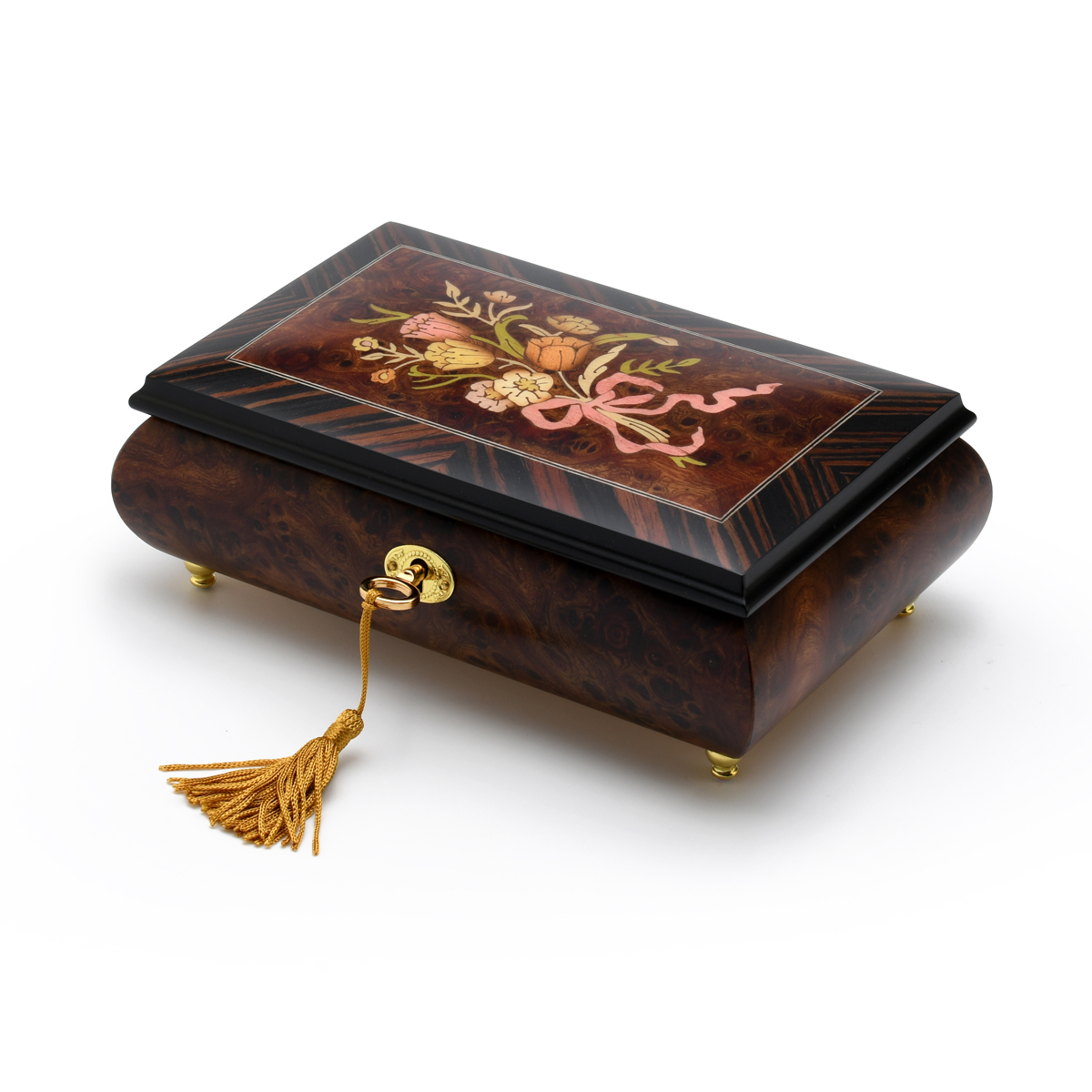 Classic Music Box Features Nostalgic Design of A Floral Bouquet Tied With Pink Ribbon
