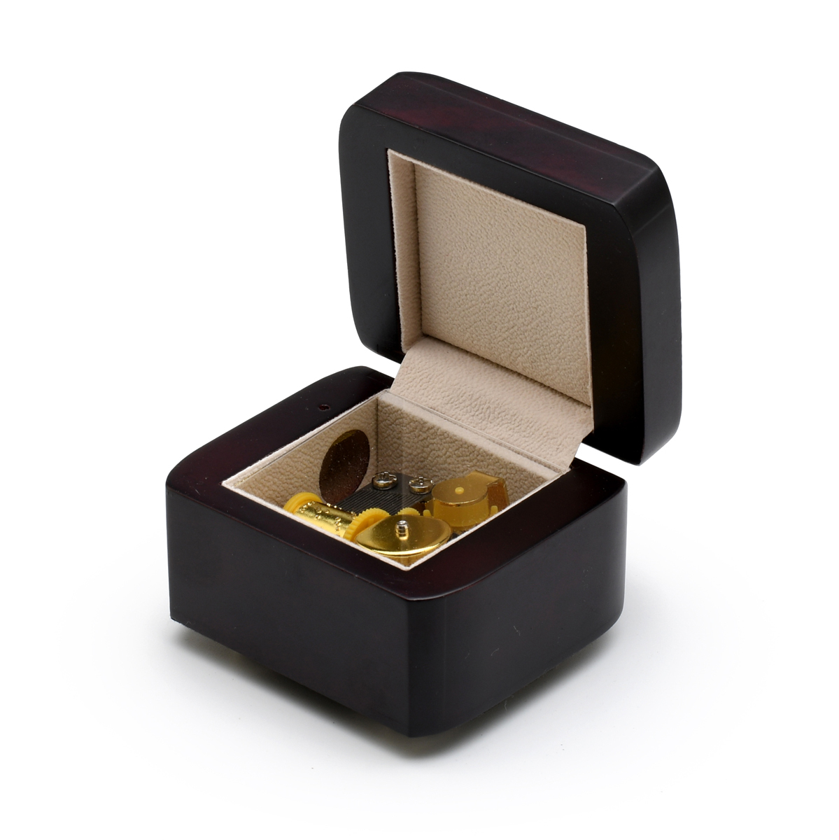 Charming 18 Note Musical Box with Matte Dark Wood Tone Finish