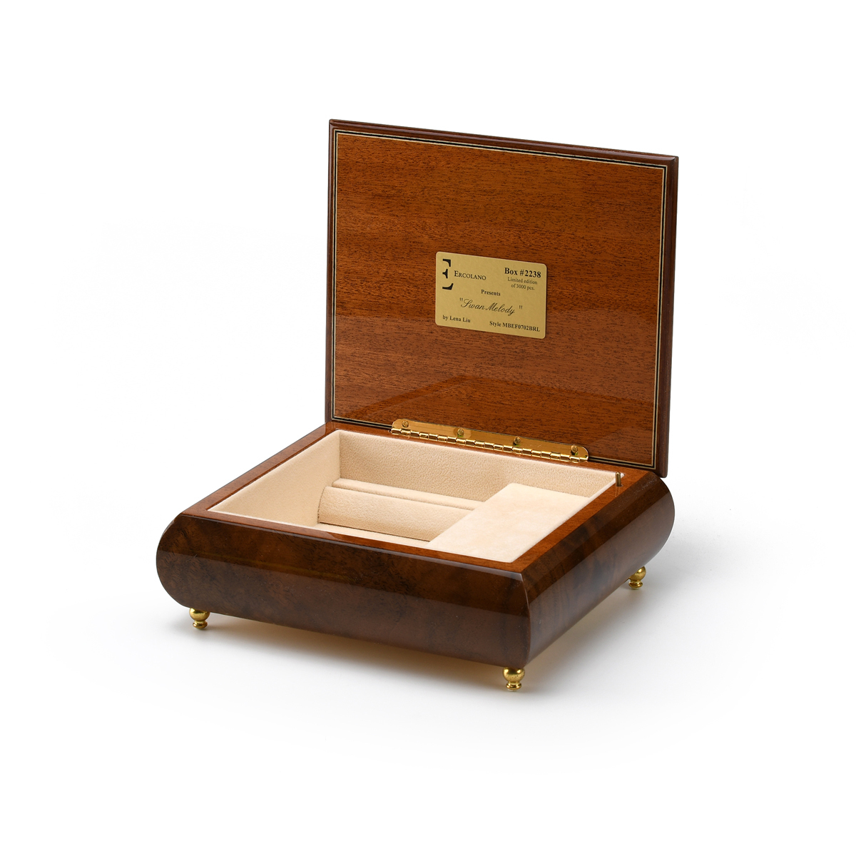 Exquisite Wood Tone Ercolano Musical Jewelry Box - Swan Melody by Lena Liu