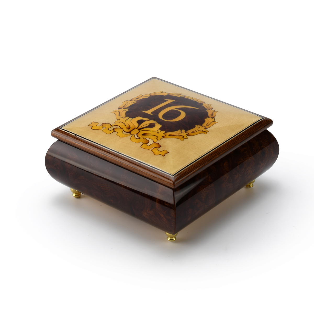Sweet 16 Centered in Gold Wreath Sorrento Inlaid Music Jewelry Box