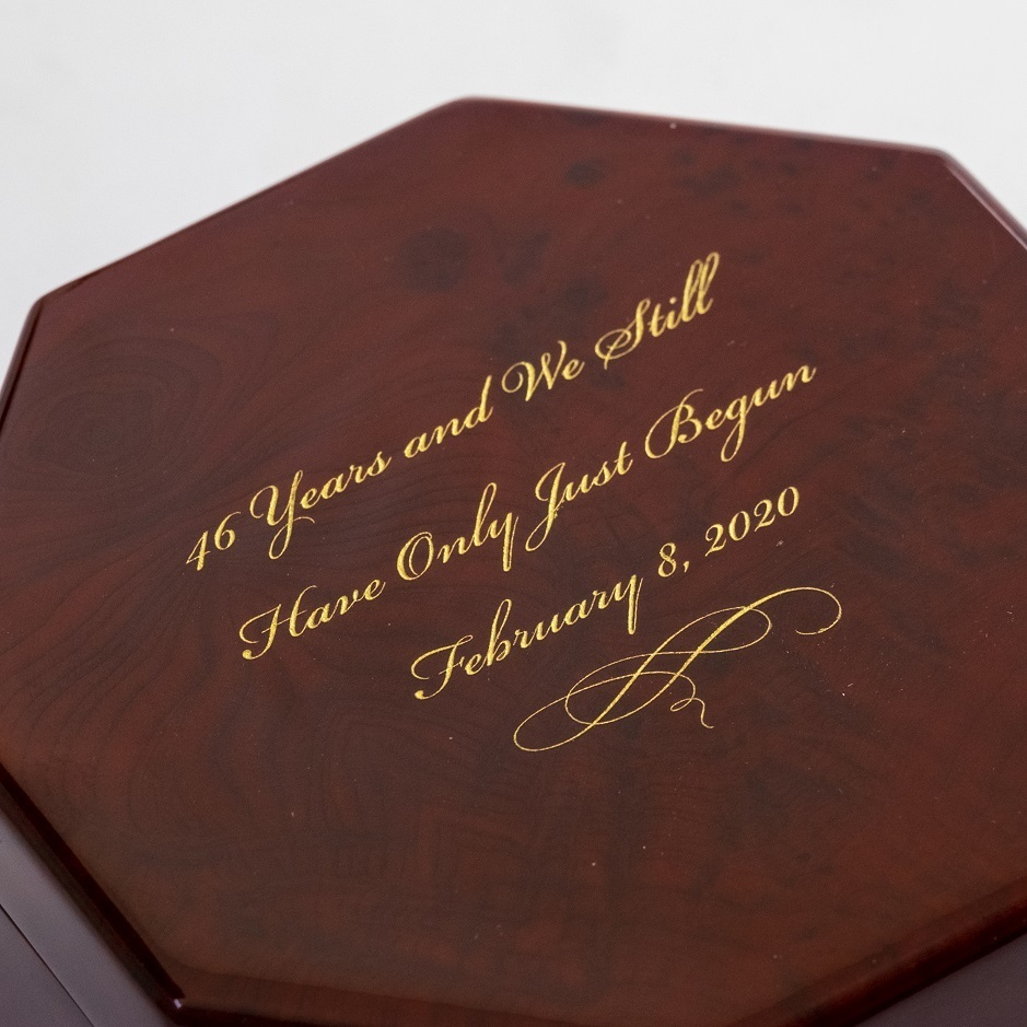 Enchanting Octagonal Zen Inspired Classic Toned Musical Jewelry Box