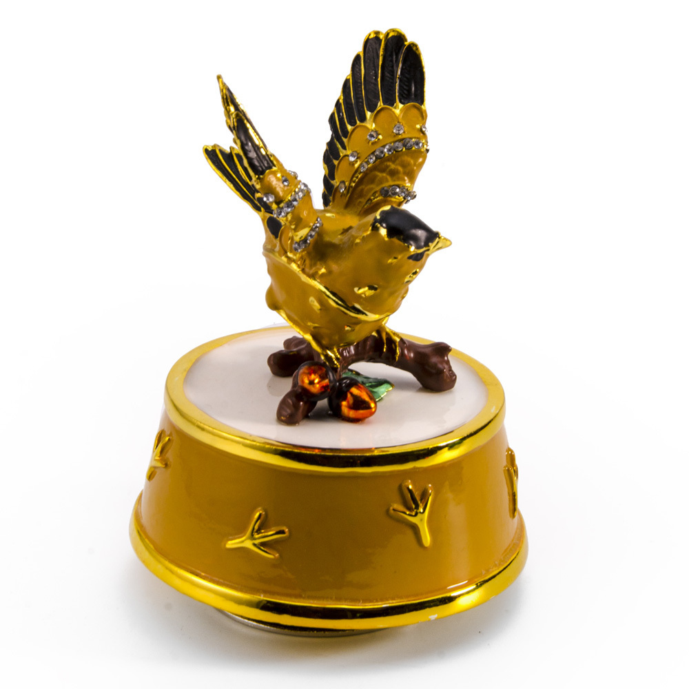Jeweled Gold Finch Bird with Yellow and Gold Accents Rotating Musical Keepsake