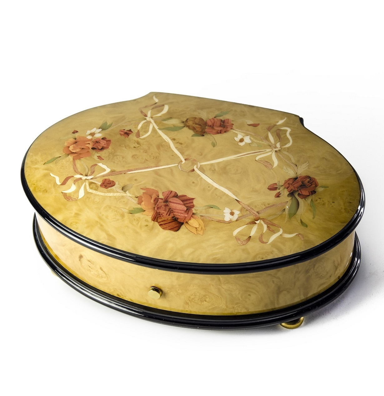 Reuge Handcrafted Roses and Ribbons 3.72 Note Music Box Titled Callista - IN STOCK SPECIAL PRICE