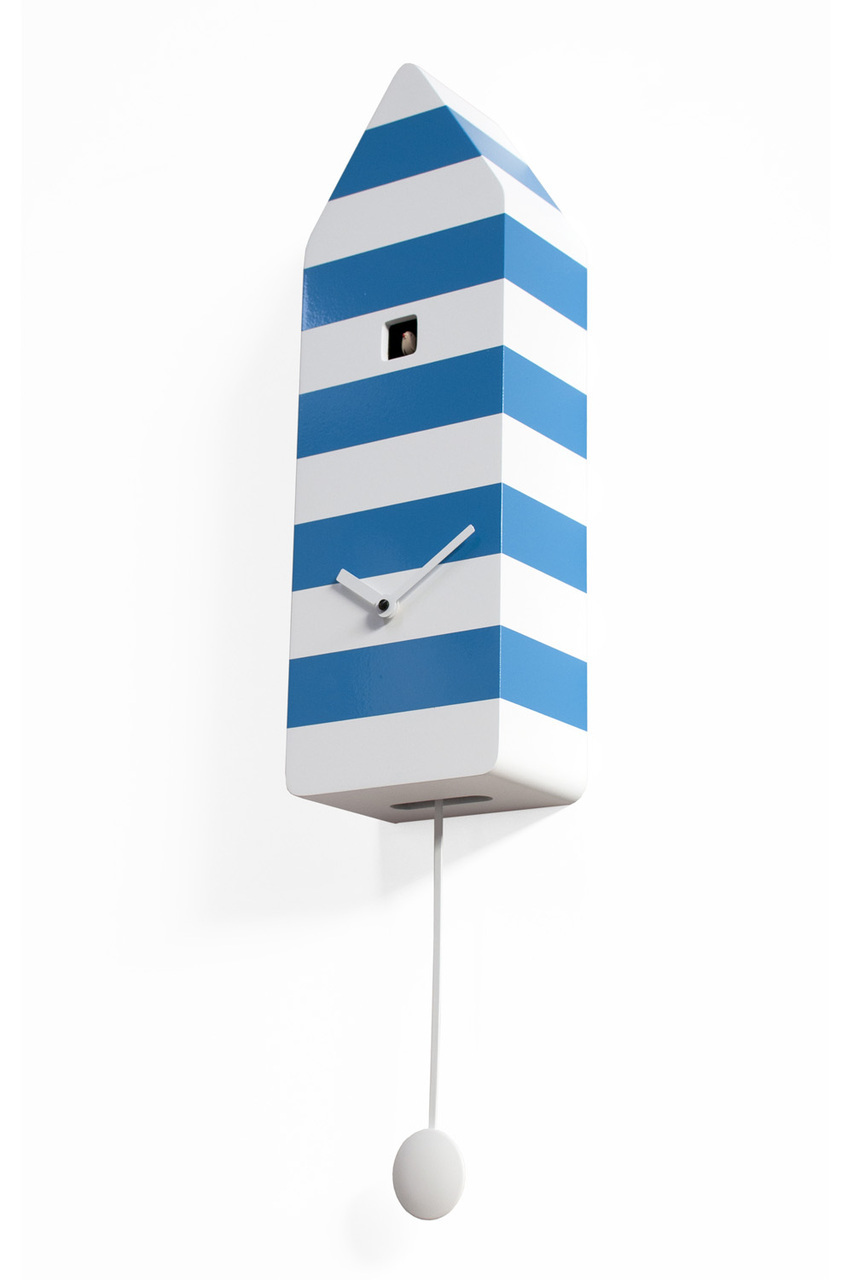 Vibrant White and Blue Striped Modern Cuckoo Clock - Capri by Progetti