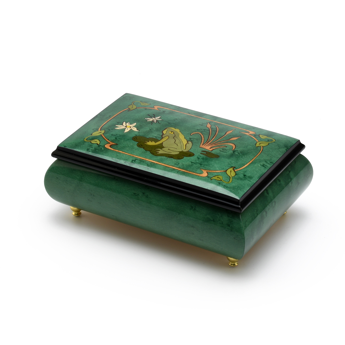 Brilliant Green Stain Musical Jewelry Box with Frog on Lily Pad with Fireflies Wood Inlay