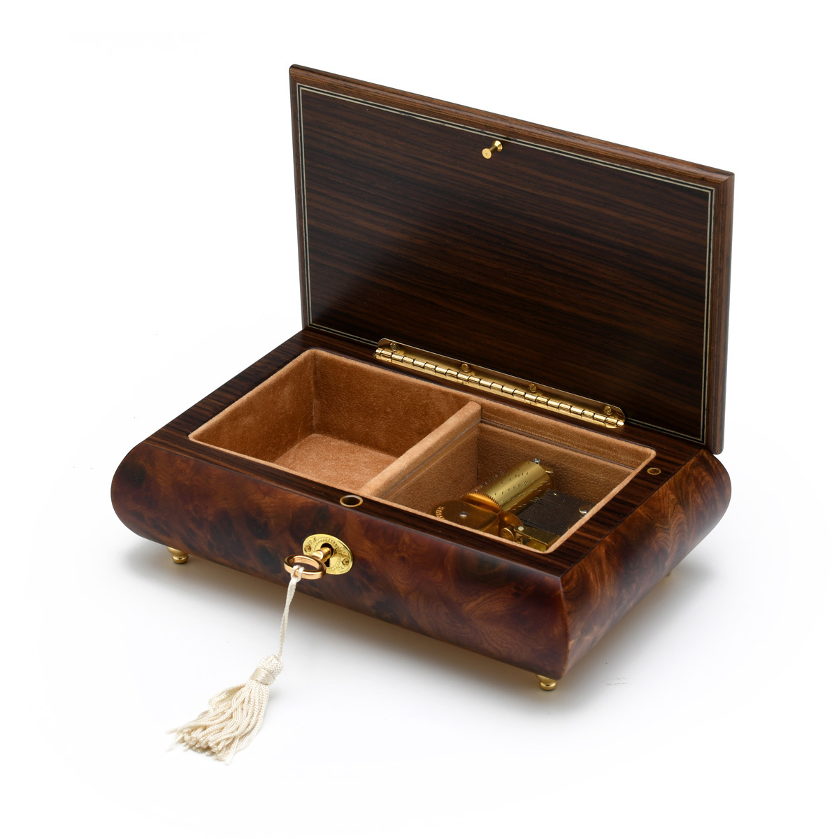 Handcrafted Single Stem Red Rose Musical Jewelry Box