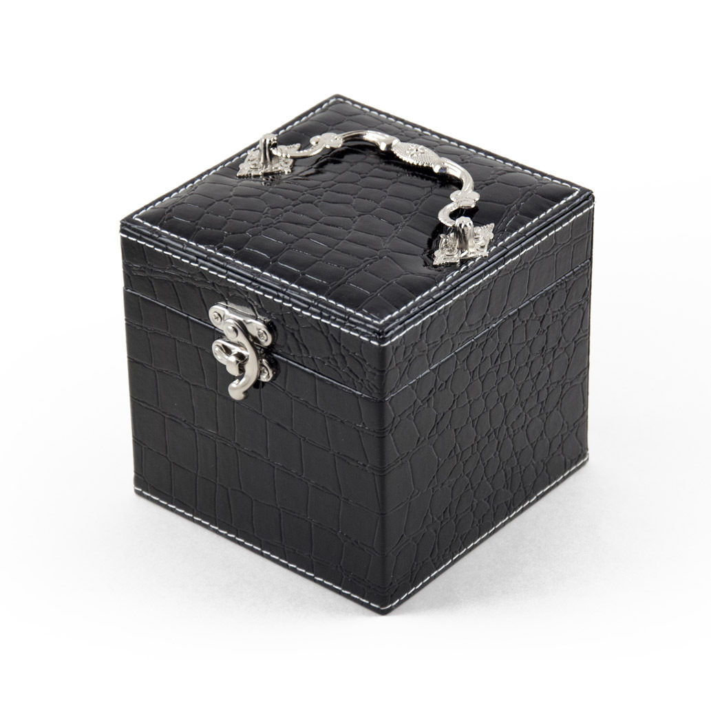 Space Efficient Black Croc Skin Faux Leather Gothic Jewelry Box