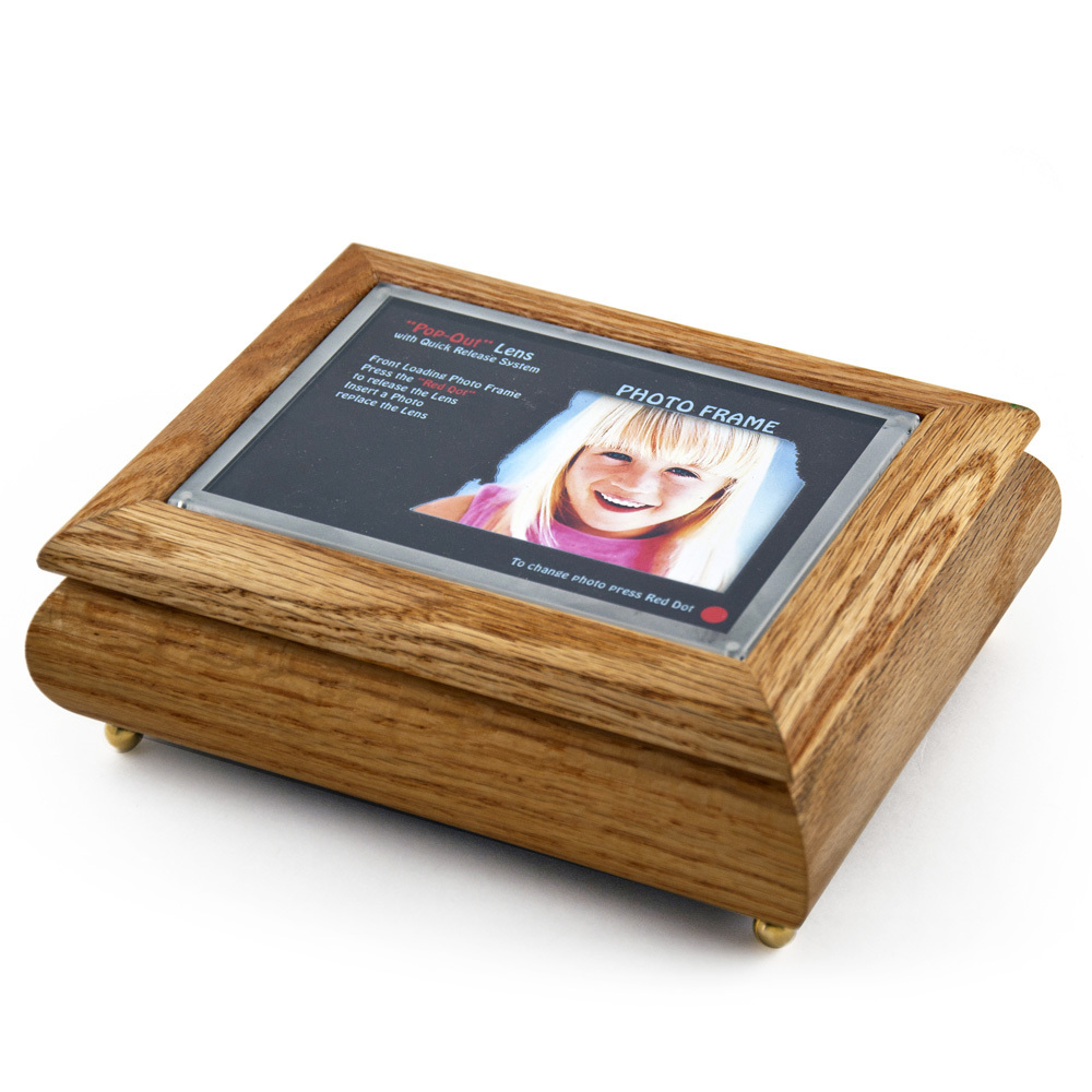 4 x 6 Oak Photo Frame Musical Jewelry Box with New Pop-Out lens System