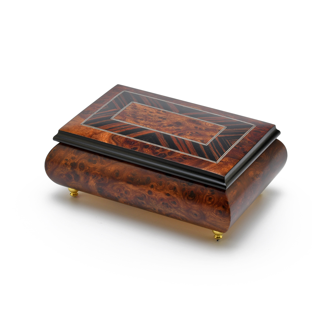 Handcrafted 18 Note Classic Style Music Box with Framed Border Inlay