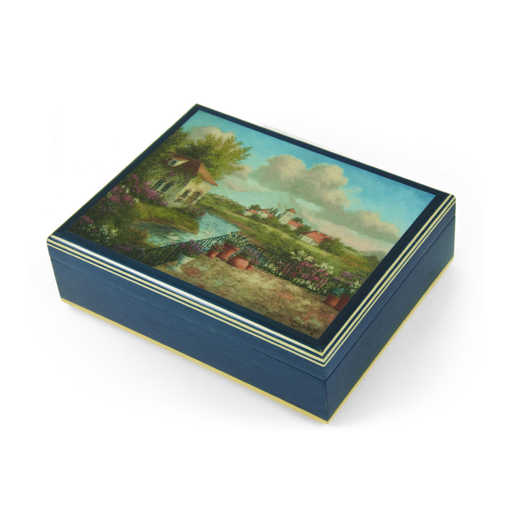 Handcrafted Italian Ercolano Musical Jewelry Box - A View of Tuscany by Dennis Patrick Lewan