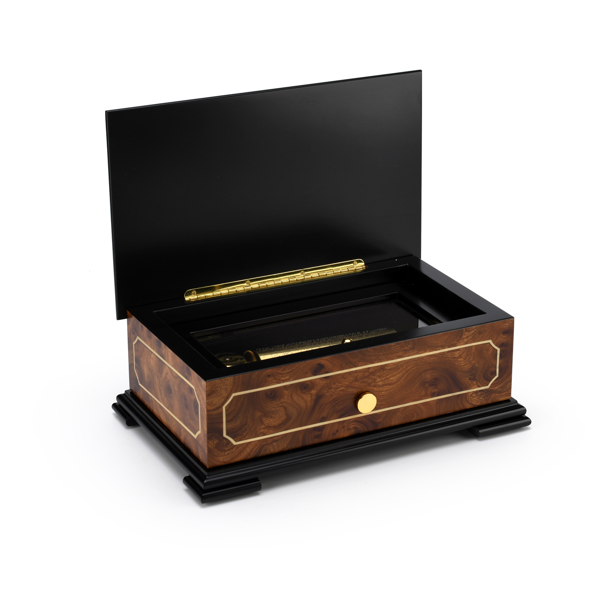 Sophisticated Swiss 72 Note Classic Style with Framed Panel Inlay Grand Music Box