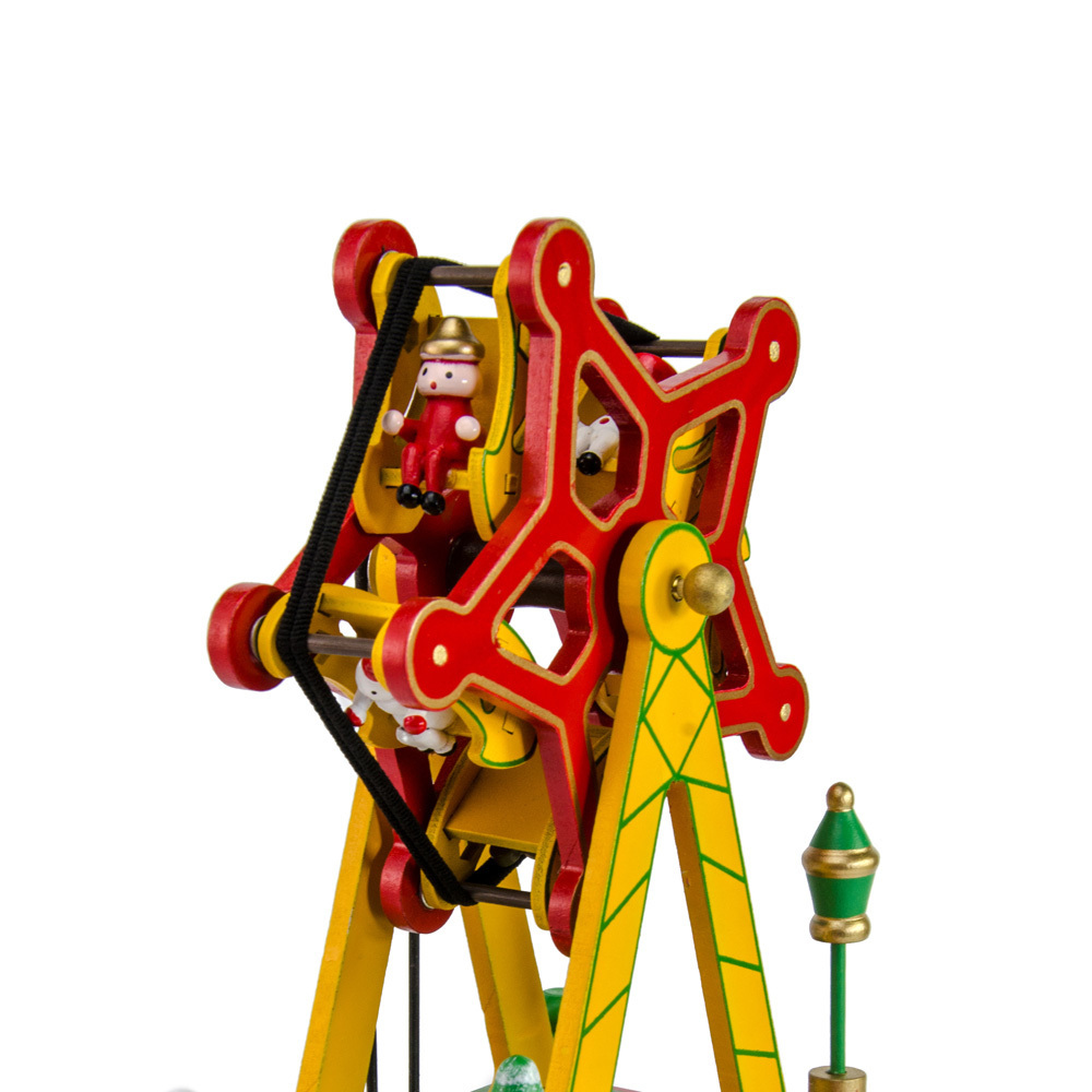 Animated Rotating Green Musical Ferris Wheel with Christmas Characters
