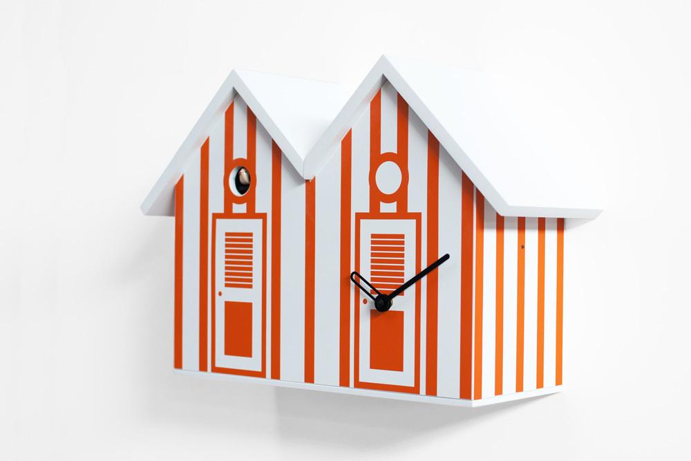 Vibrant White and Orange Striped Modern Cuckoo Clock - Bagni Nettuno Double by Progetti