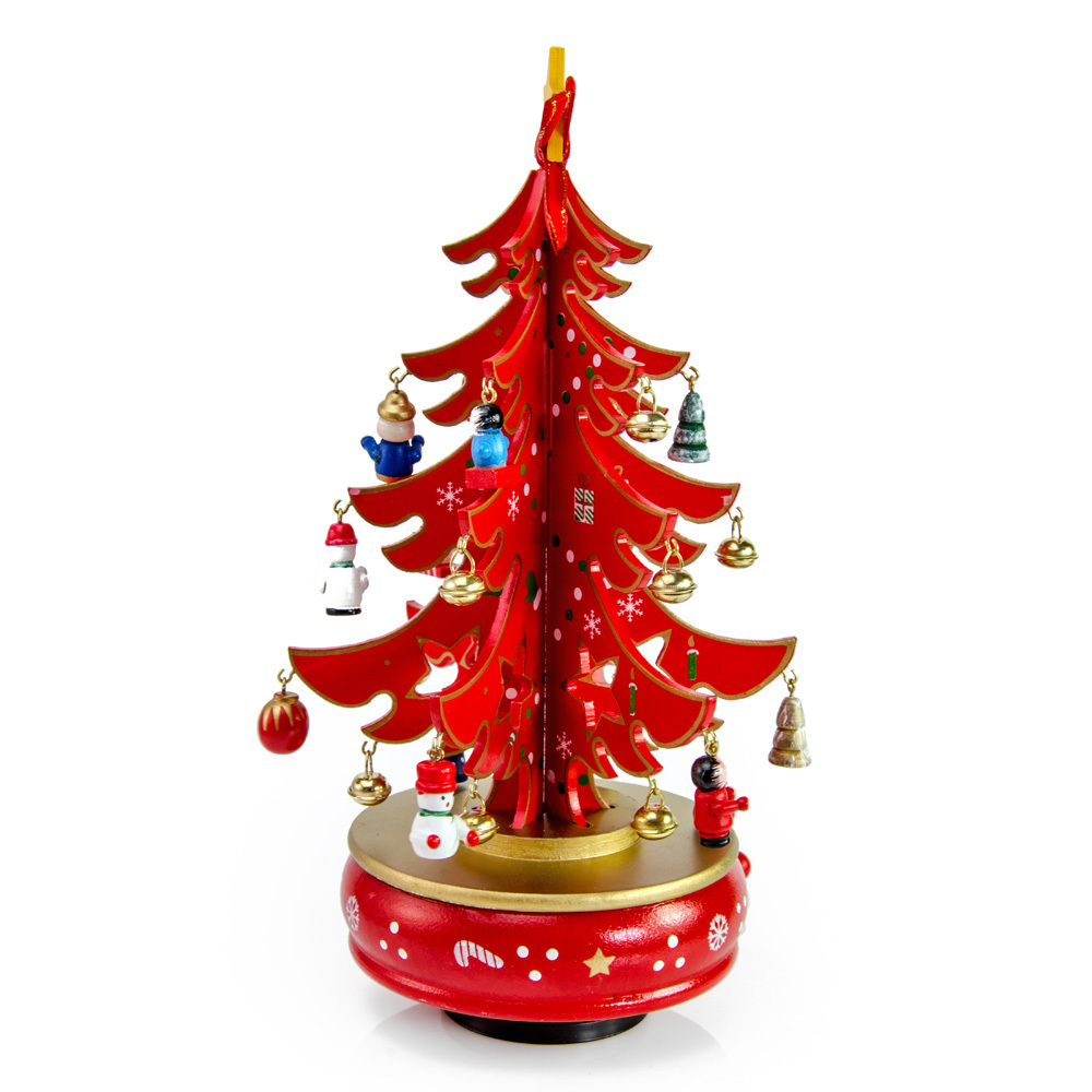 Fire Engine Red and Gold Musical DIY Christmas Tree on Rotating Base