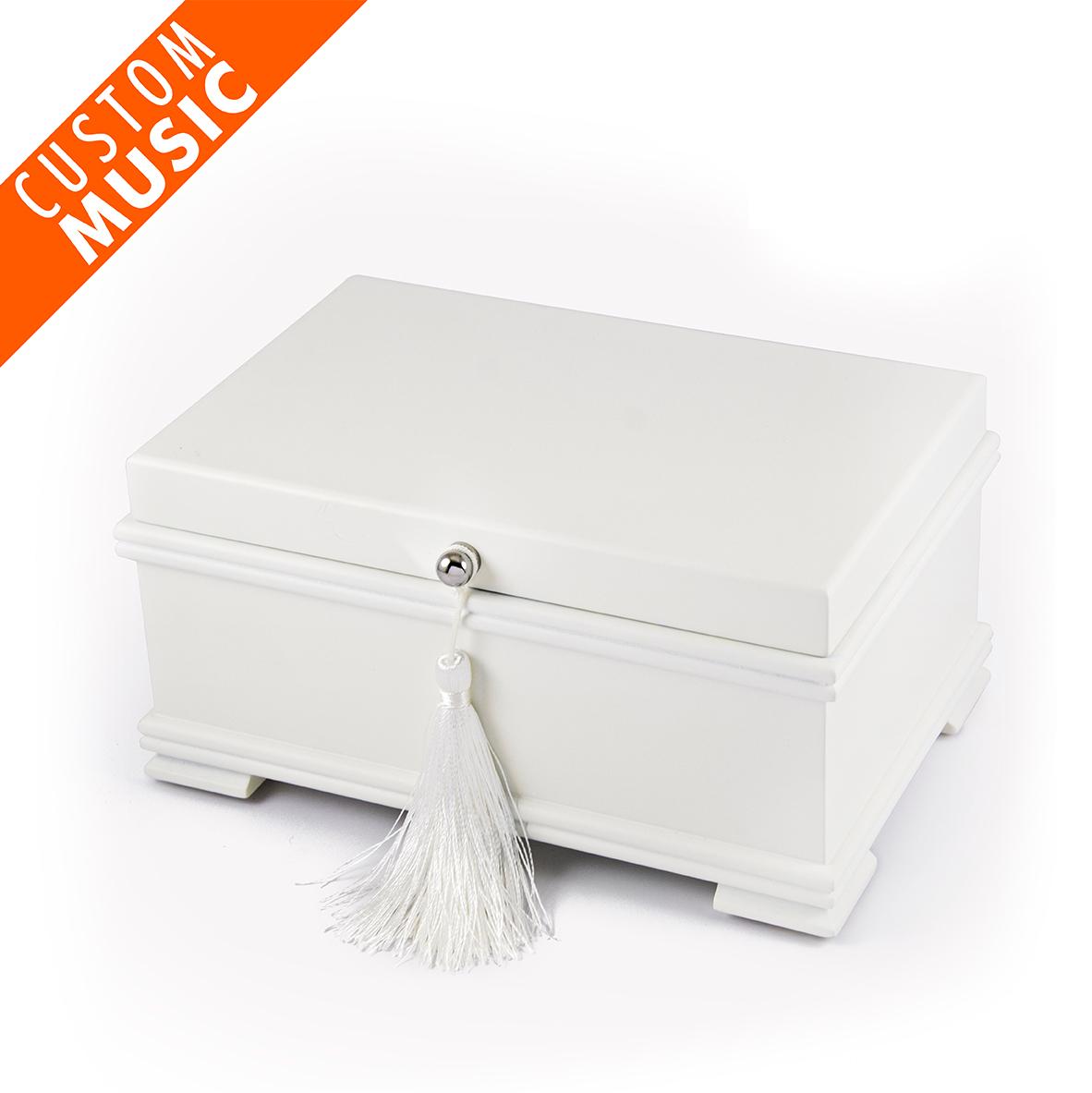 Matte White Custom USB Sound Module Jewelry Box With Lift-Up Tray