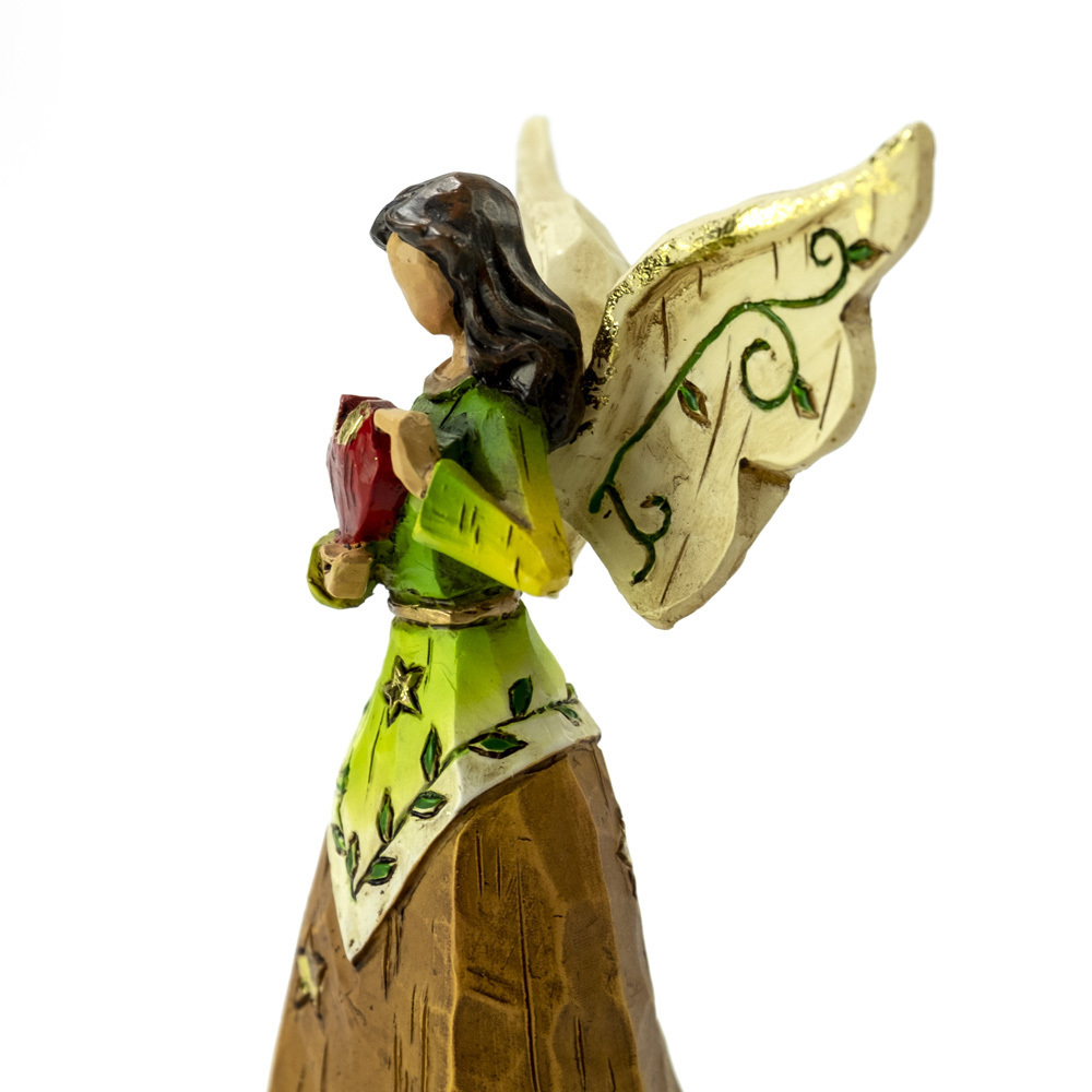 Wooden Style Sculpted Musical Angel Holding Red Heart - Choose Your Song