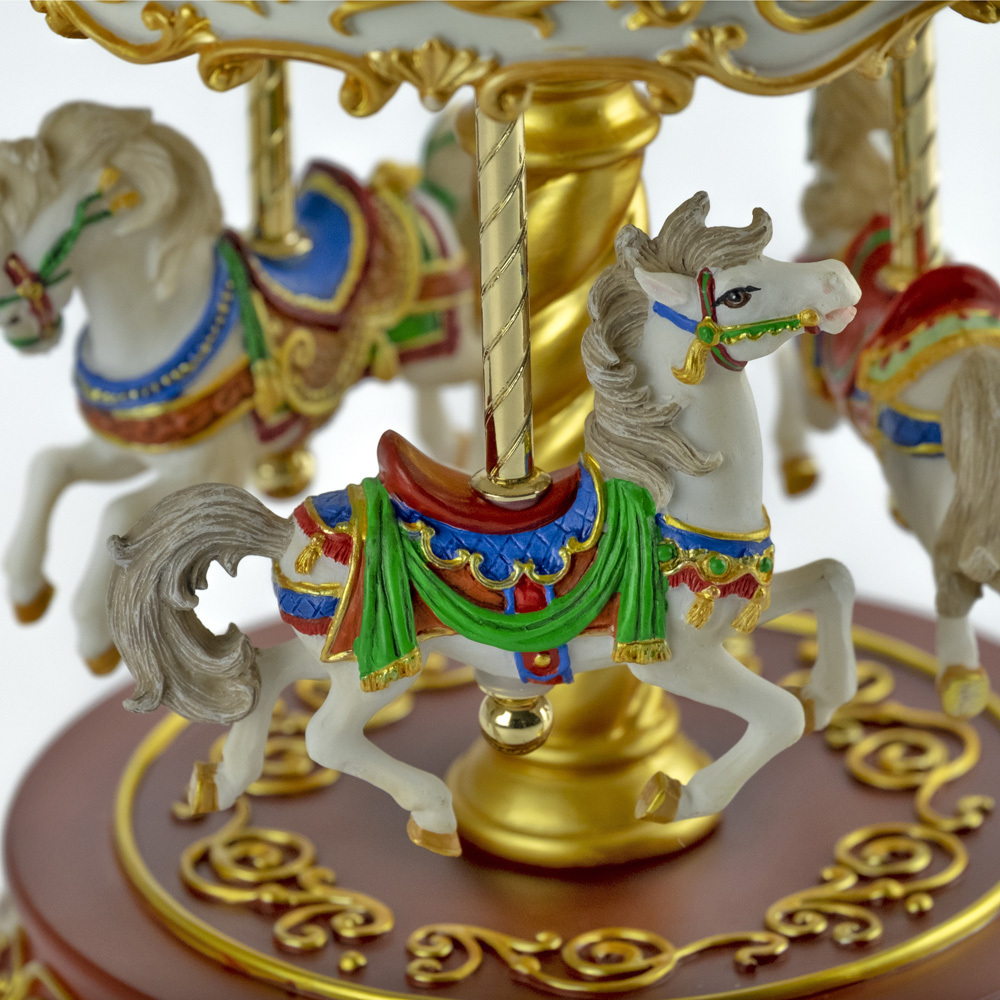 Heritage 3-Horse Rotating Colorful Musical Carousel - Choose Your Song