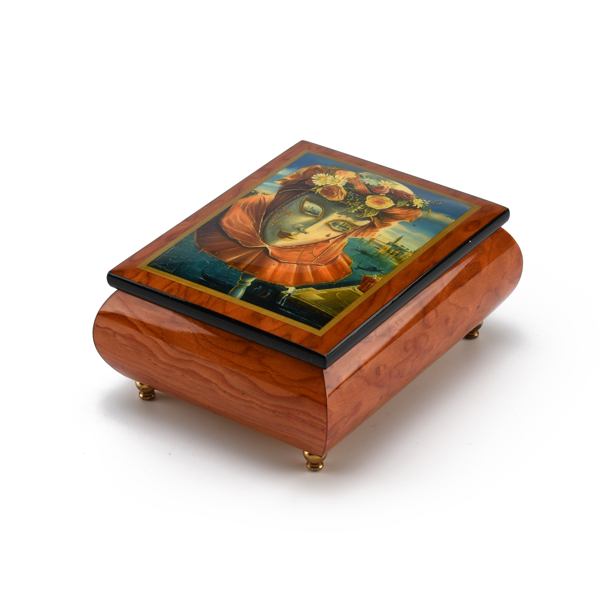 Festive Painted Ercolano Music Box of a Carnival / Venetian Mask titled Memories of Summer