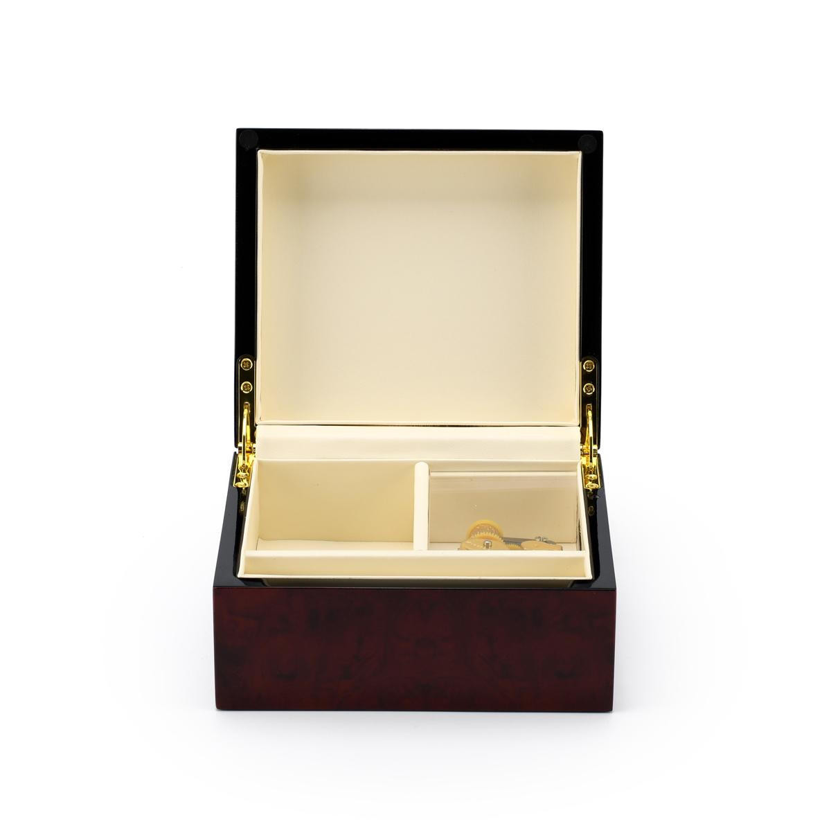Modern Hi Gloss 18 Note Burl Wood Jewelry Box