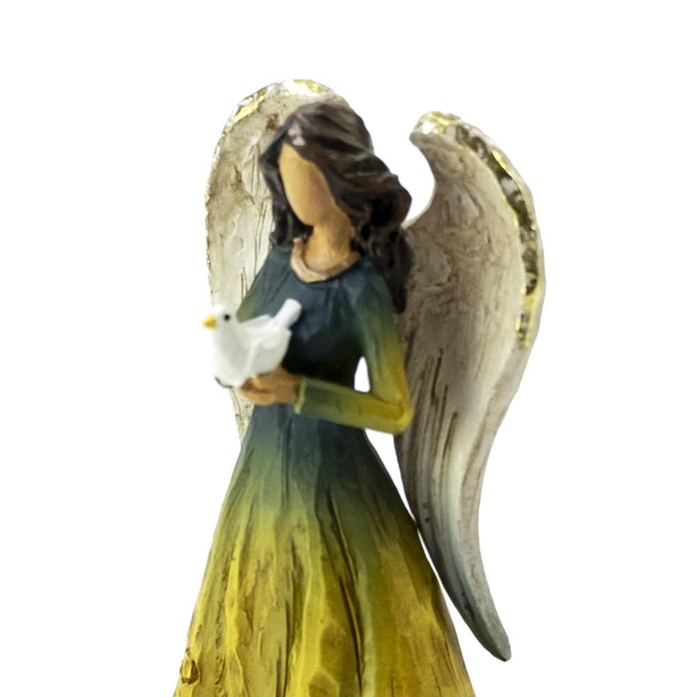 Wooden Style - Sculpted Musical Angel Holding a Dove - Choose Your Song