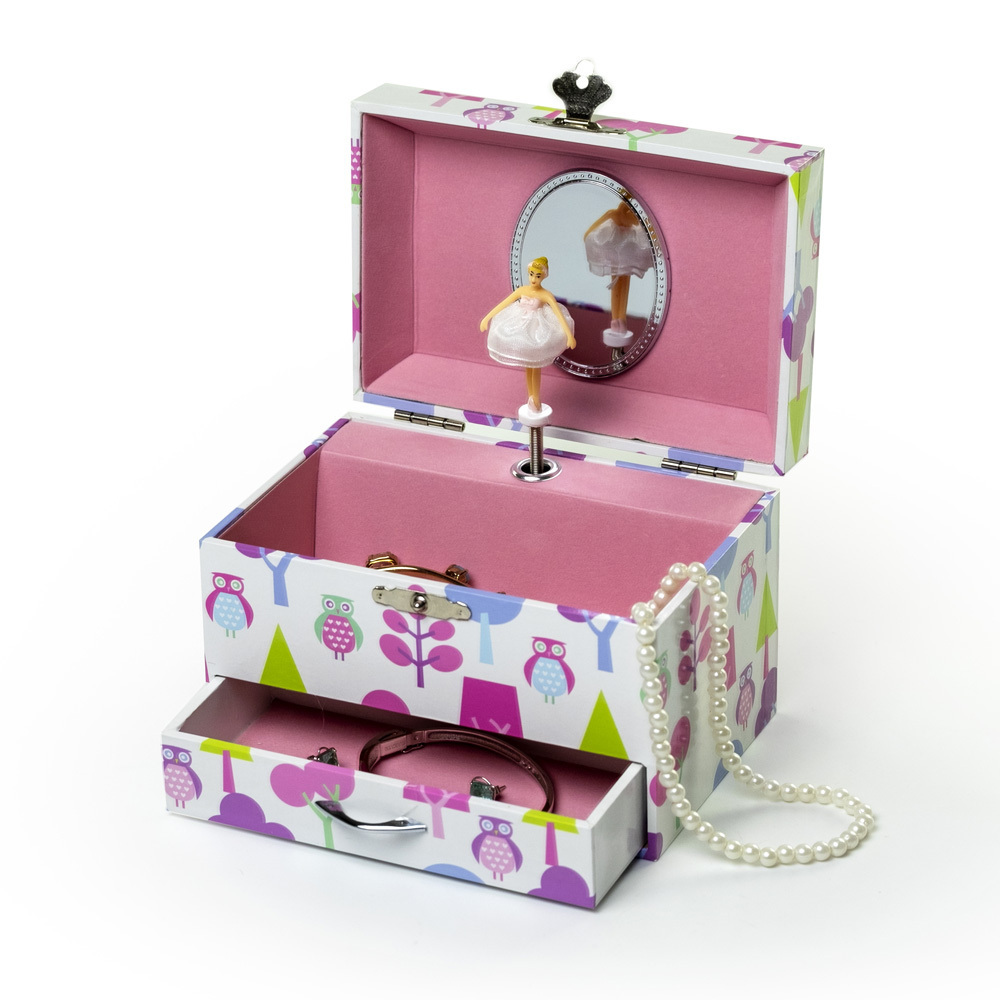Retro Owl Design with Pearl Handle Spinning Ballerina Musical Jewelry Box Moly by Mele and Co
