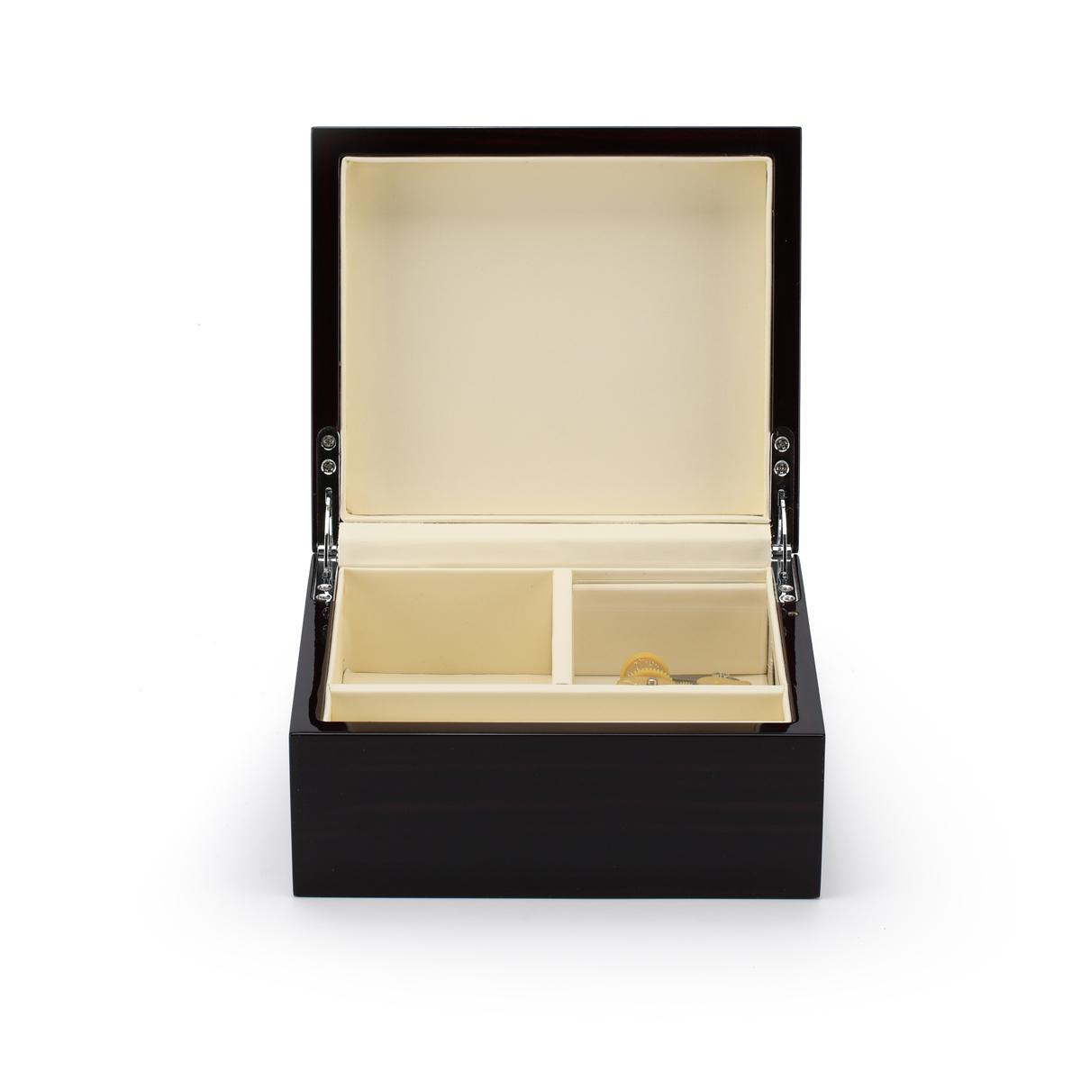 Contemporary 18 Note Hi Gloss Macassar Finish Jewelry Box