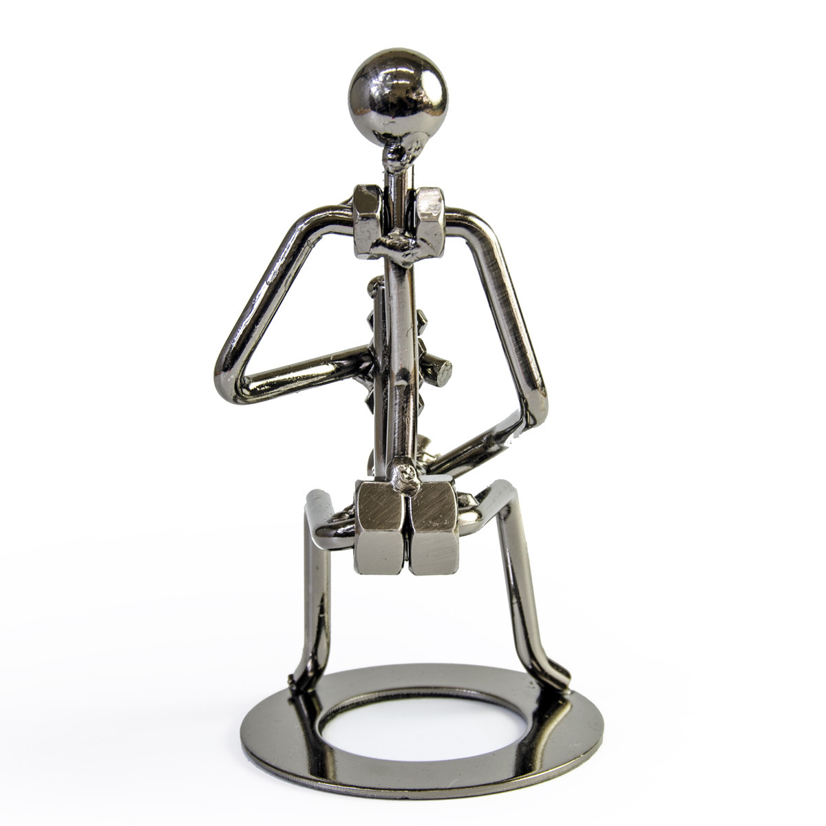 Handcrafted metal musician with clarinet figurine