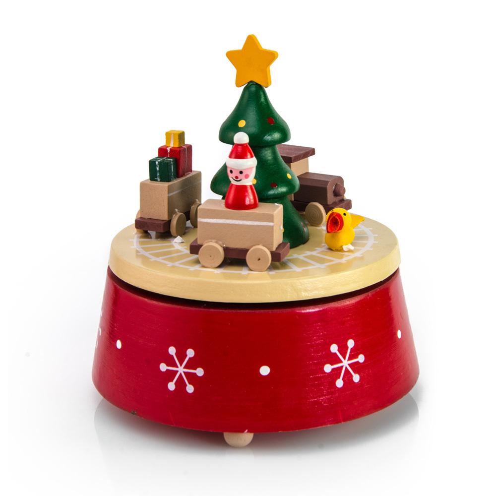 Kid Rides Toy Train around Christmas Tree Musical Keepsake