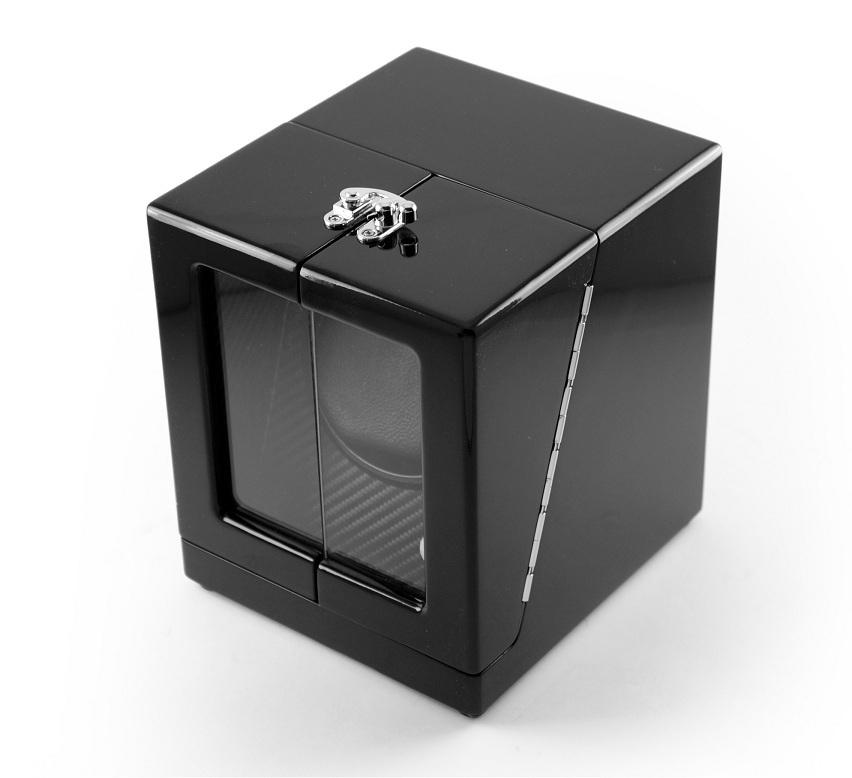 Modern Hi Gloss Black Single Rotor Watch Winder 1 with Carbon Fiber Interior