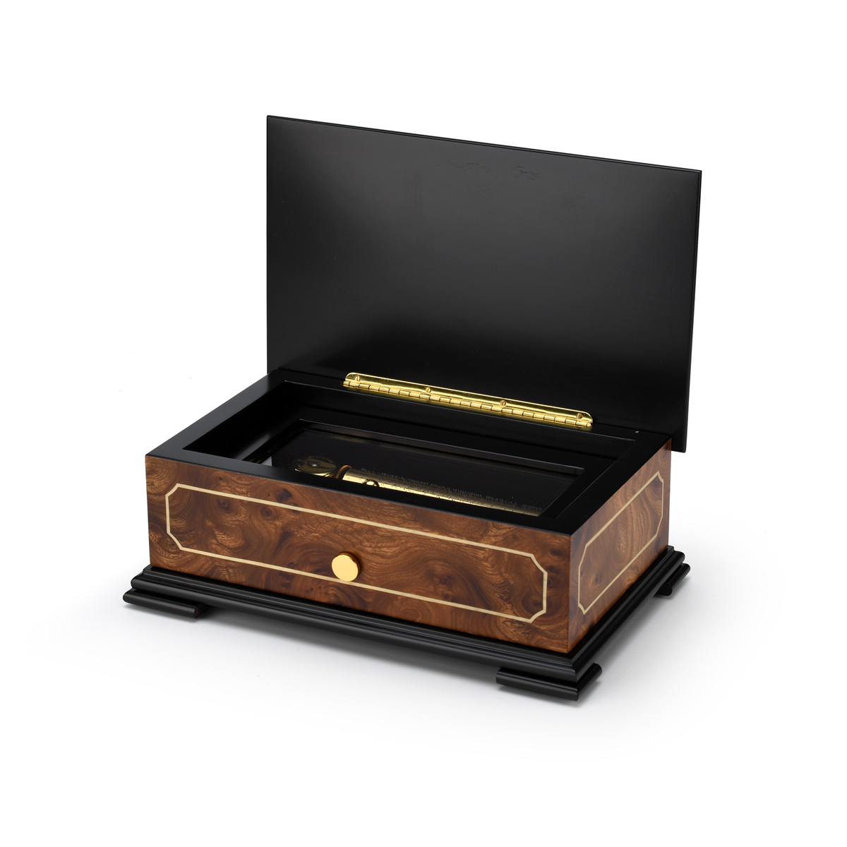 Sophisticated 72 Note Classic Style with Framed Panel Inlay Grand Music Box