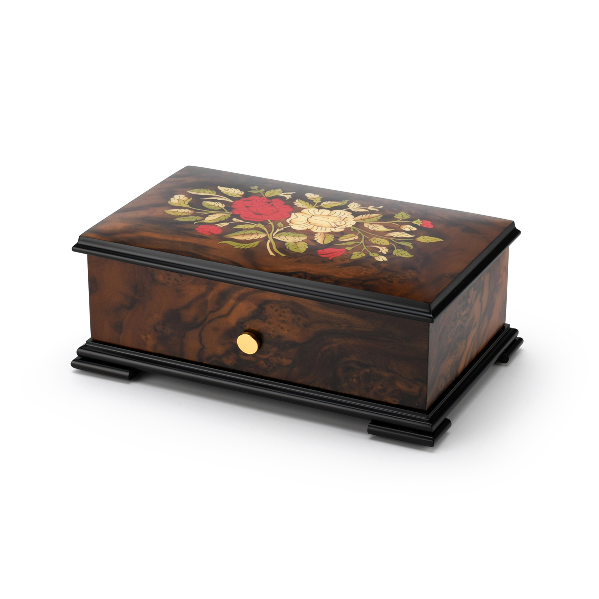 Handcrafted Swiss 72 Note Red and White Rose Inlay Grand Music Box