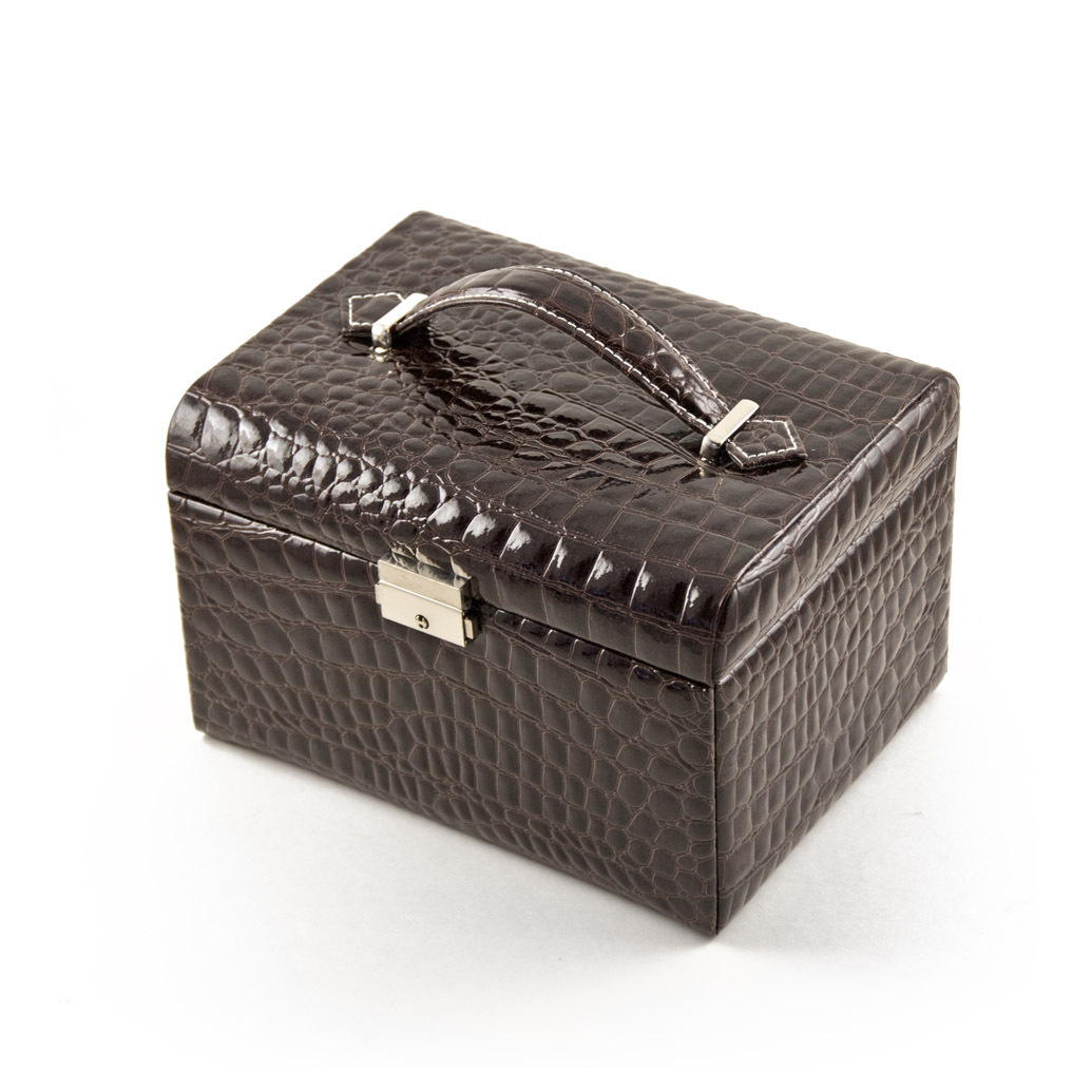 Luxurious Brown Croc Skin Faux Leather Multi-Tier Jewelry Box With Lock