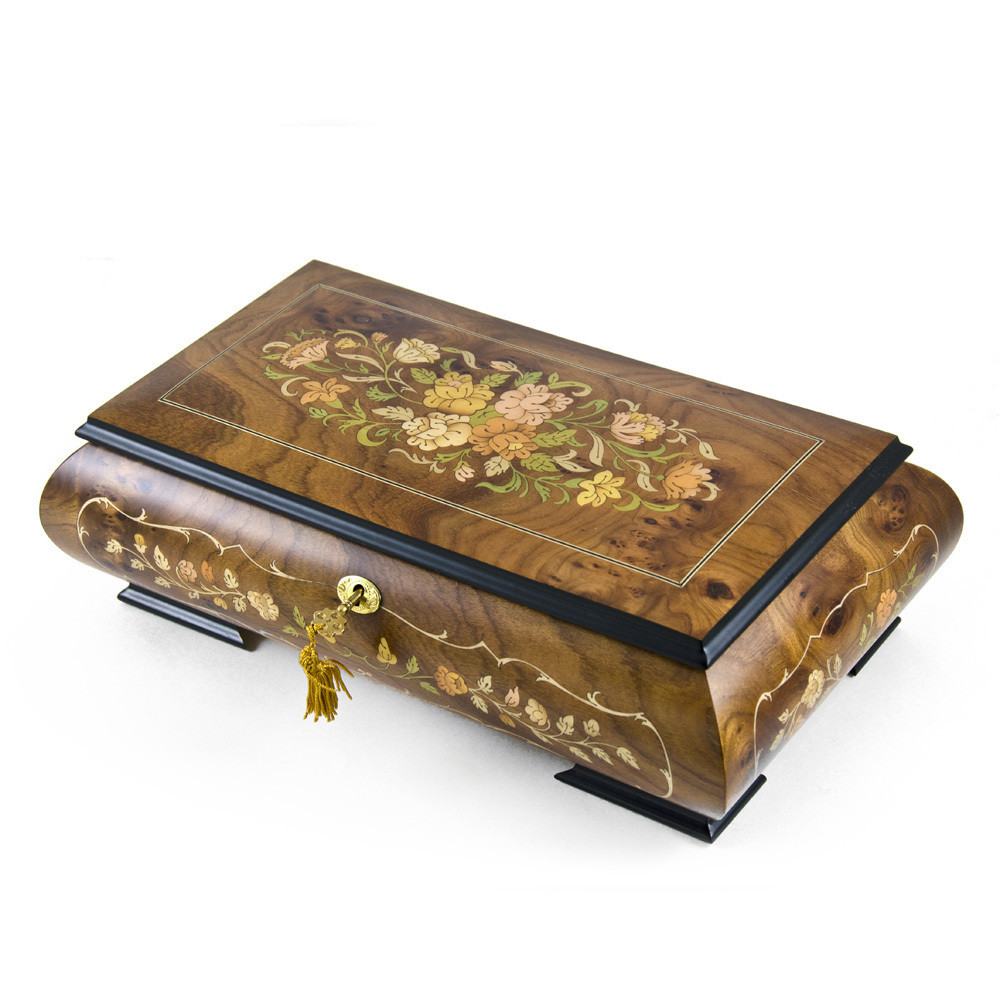 Handcrafted 36 Note Italian Double Level Floral Musical Jewelry Box