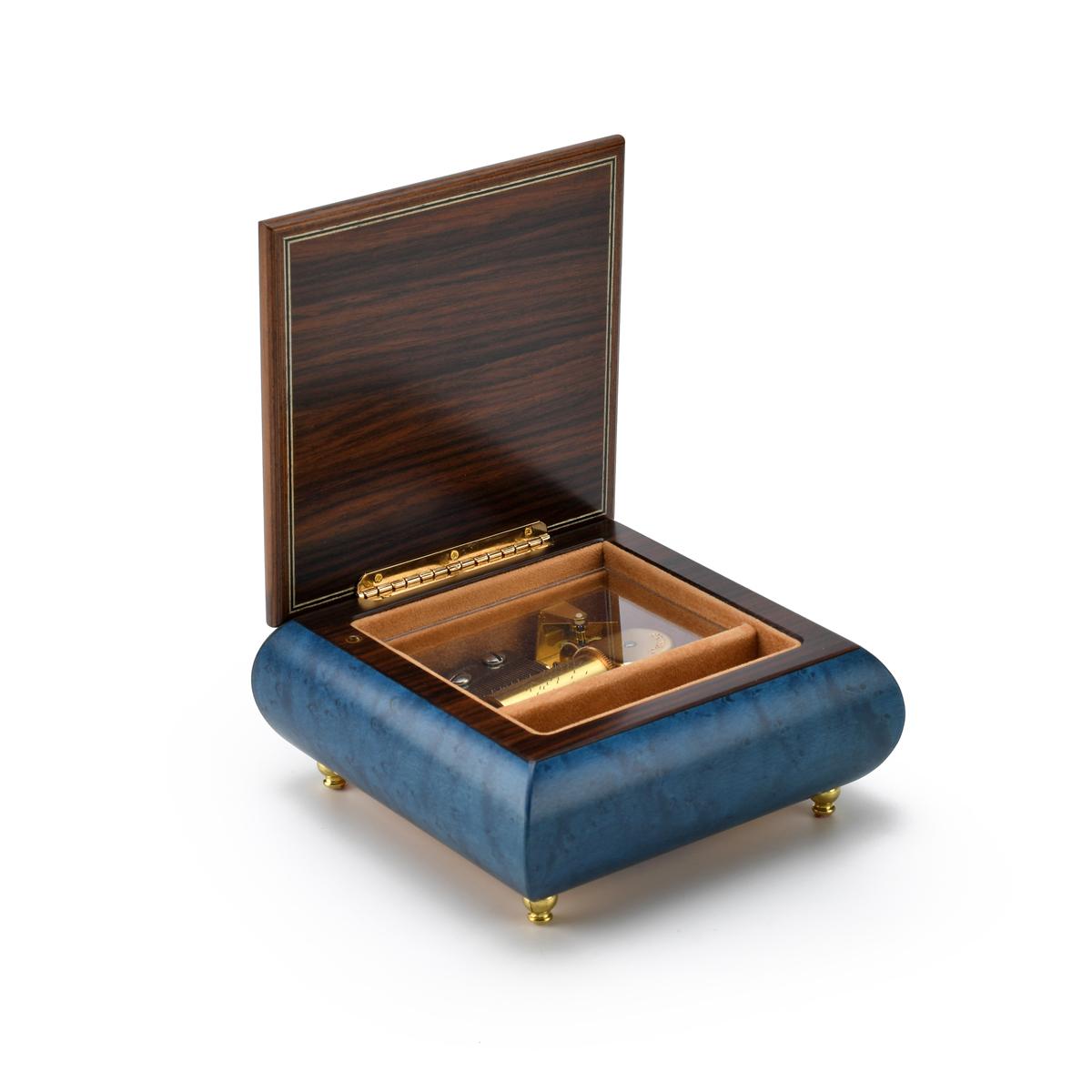 Adorable 36 Note Handcrafted Dark Blue Baby Sleeping on the Moon Musical Keepsake