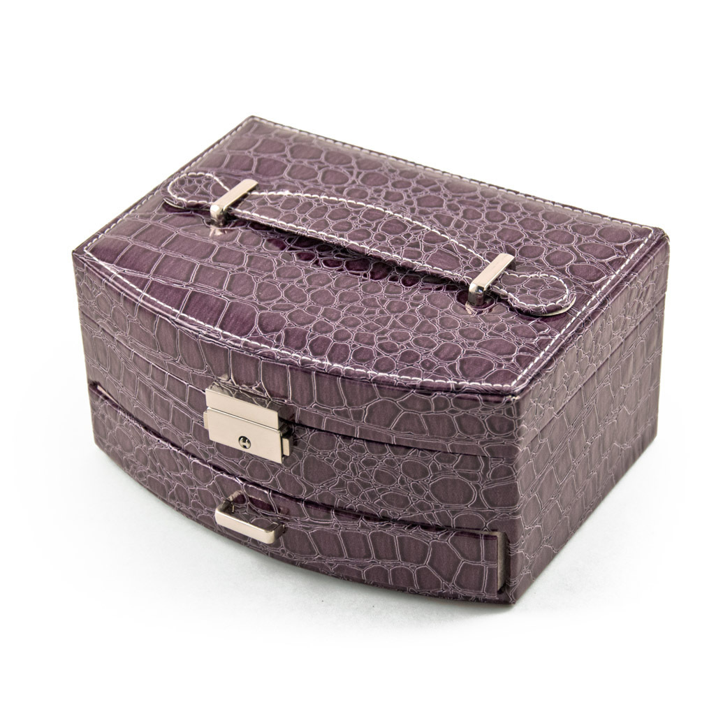Elegant Curved Front Lavender Croc Skin Faux Leather Jewelry Box