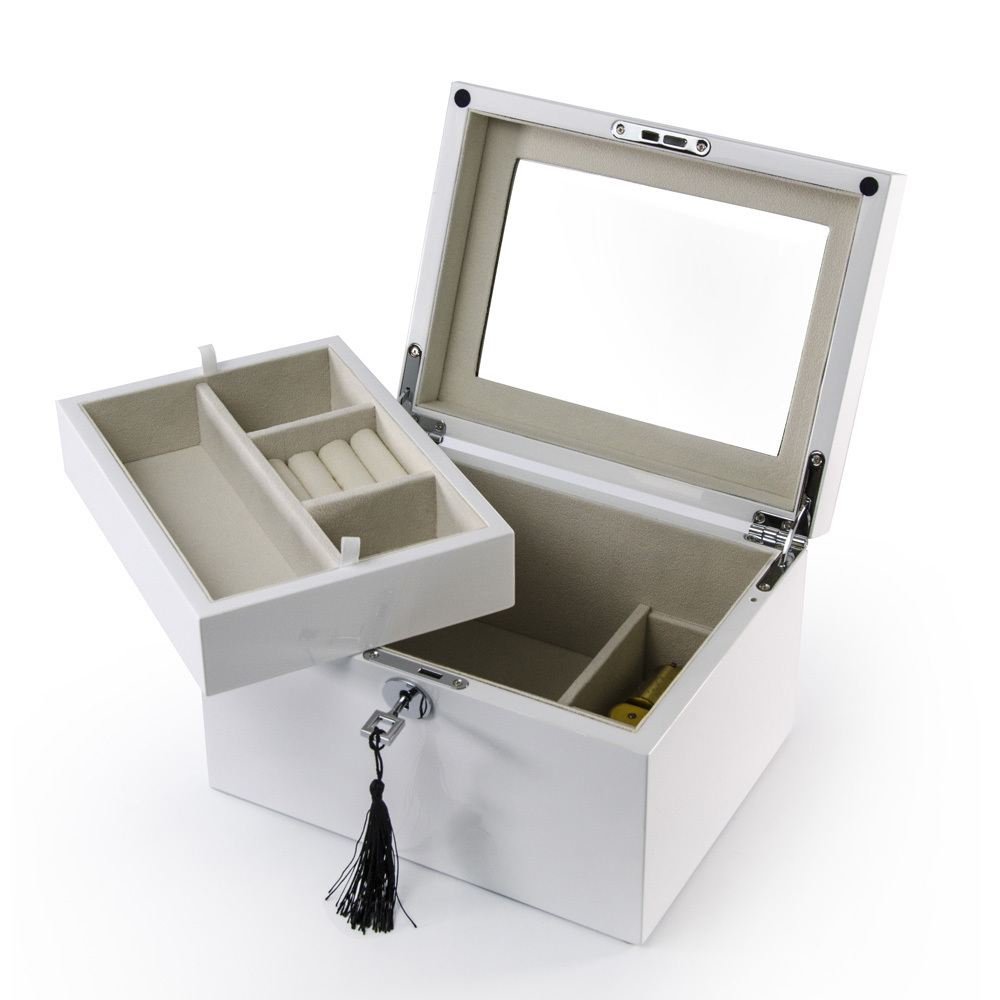 Ultra Sleek Pearl White Lacquer 18 Note Music Jewelry Box
