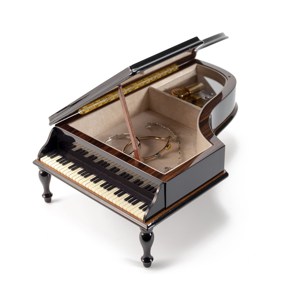 Luxurious Masterpiece Sorrento Italian Black Lacquer Musicwith Floral Inlay 18 Note Piano Music Box