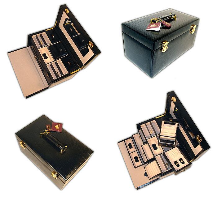 MBA Exclusive Crocodile Genuine Black Leather Fabulous Jewelry Box