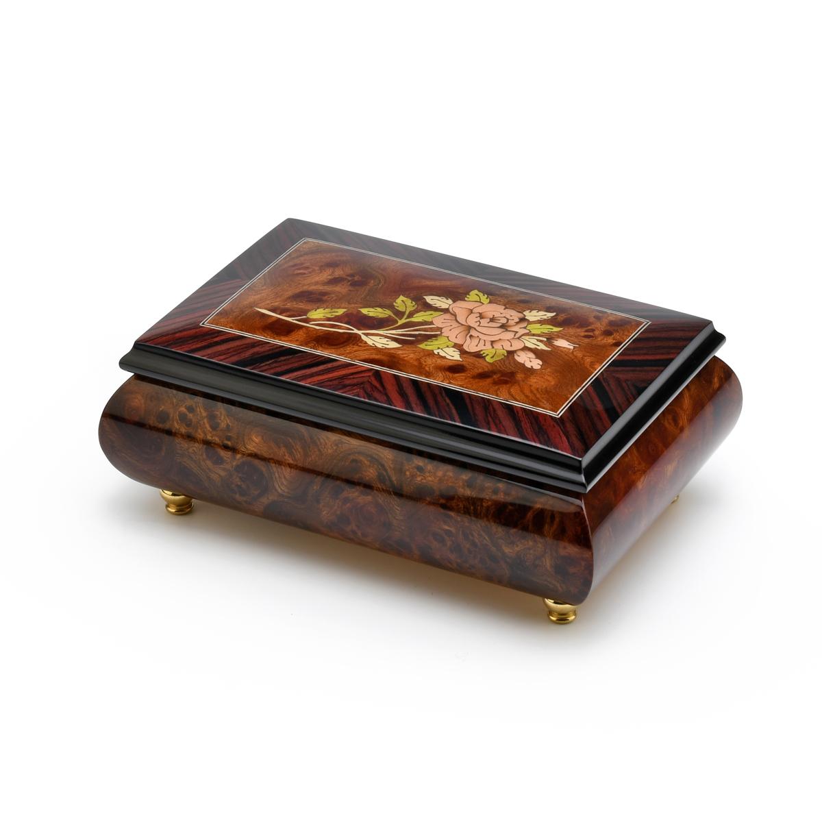Gorgeous 18 Note Handmade Burl-Walnut Music Box with Pink Rose Inlay