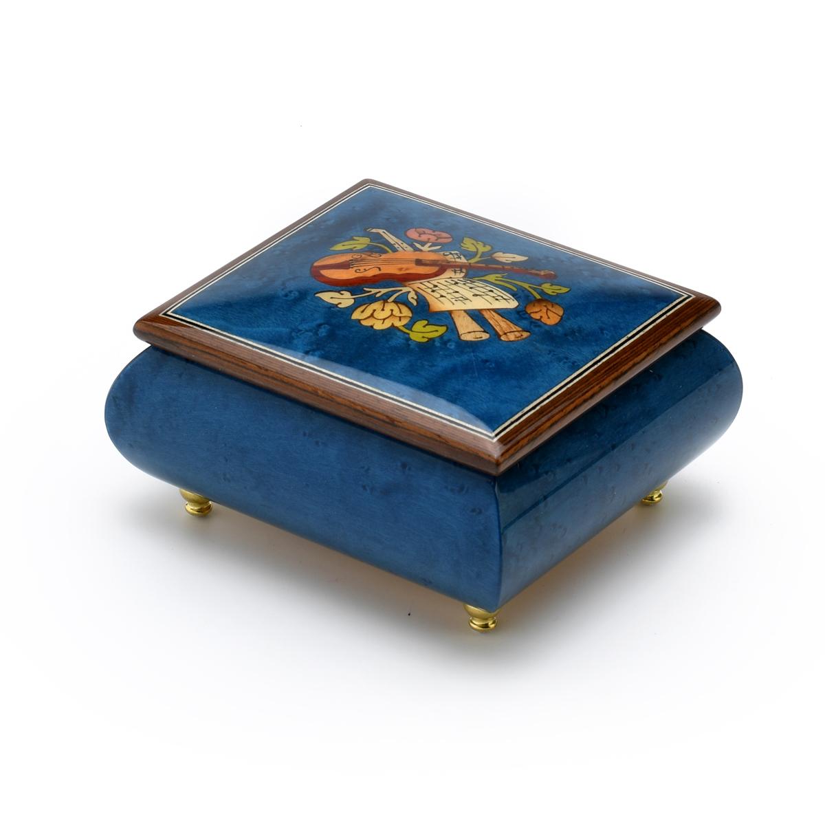 Inspiring Royal Blue Music Theme with Violin Wood Inlay Music Box