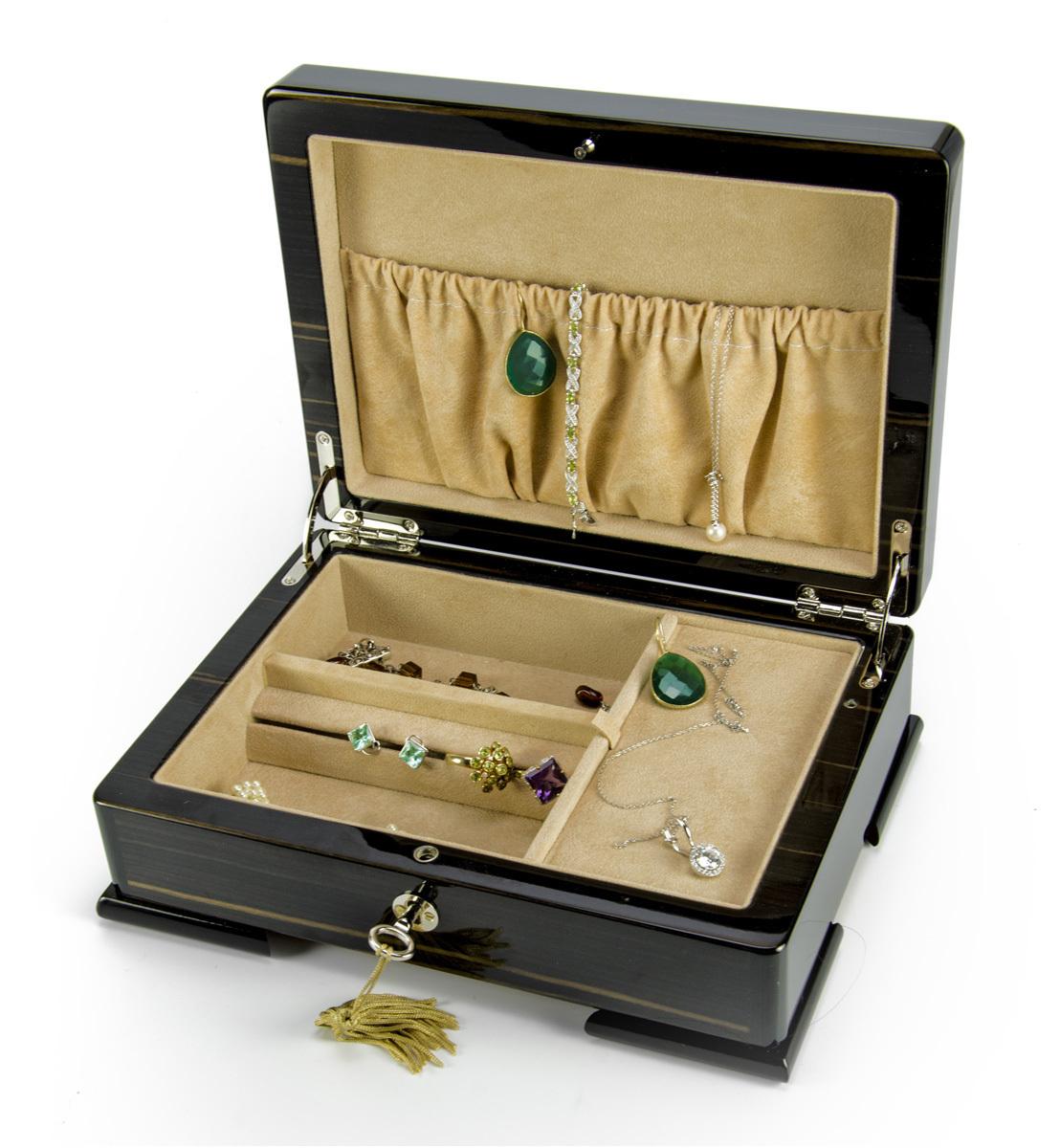 Spacious Ebony Natural Wood Tone 36 Note Hi Gloss Finish Musical Jewelry Box
