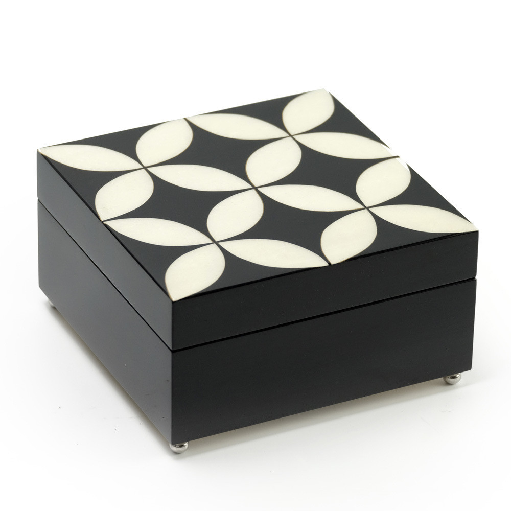 Elegant 36 Note Reuge Midnight Black and Ivory Contemporary Sorrento Music Jewelry Box