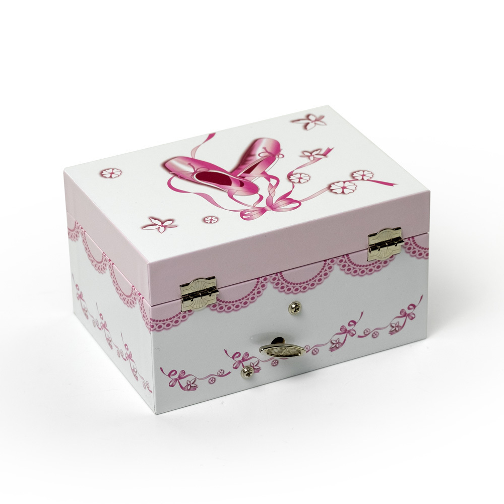 White and Pink Ballet and Ribbons Spinning Ballerina Musical Jewelry Box Clarice by Mele and Co