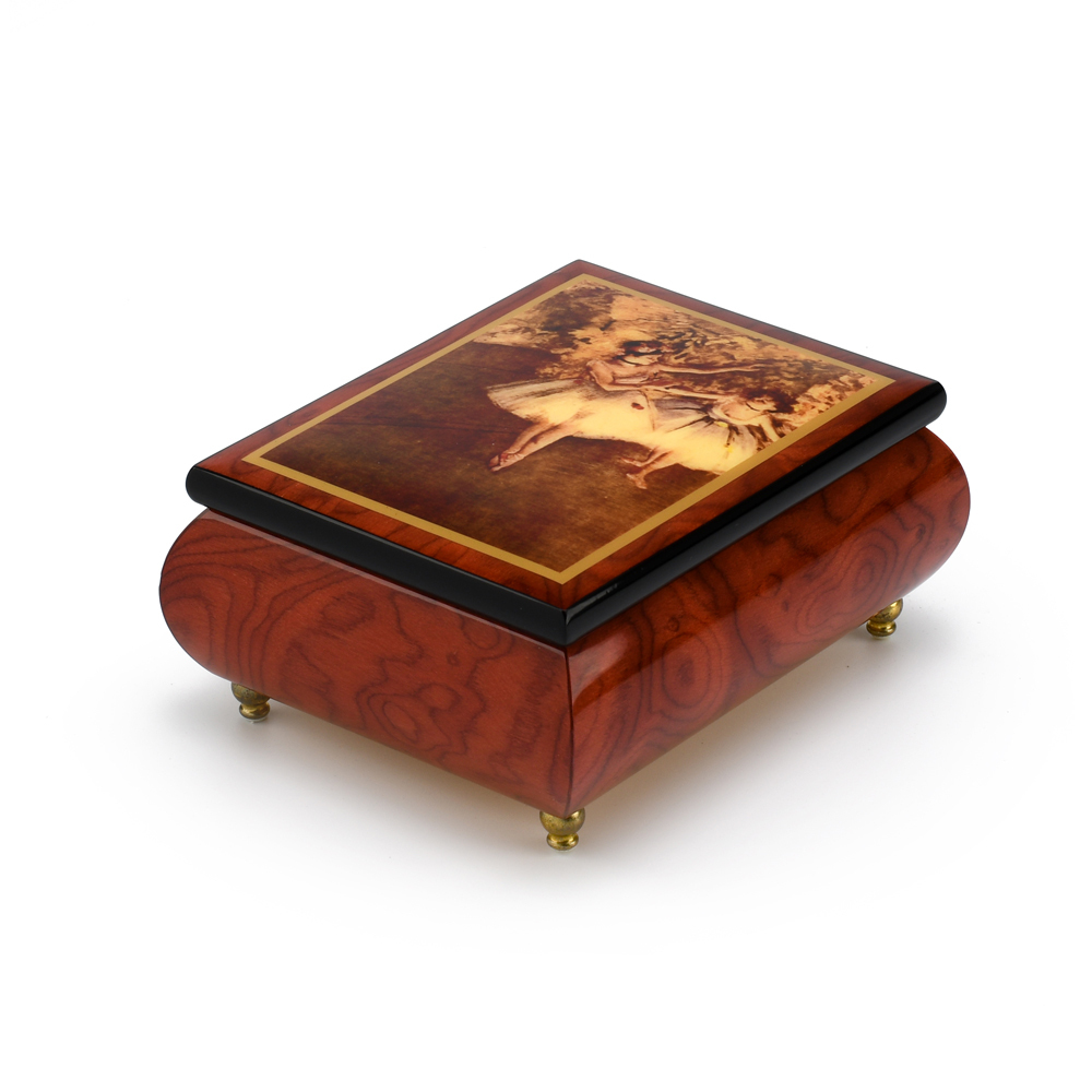 Gorgeous Handcrafted Red Wine Music Box by Ercolano - The Dancers on Stage- Degas