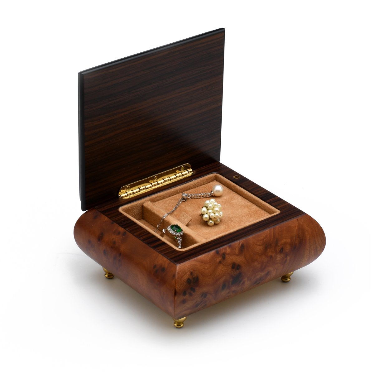 Adorable High Quality Music Box with Floral Themed Inlay