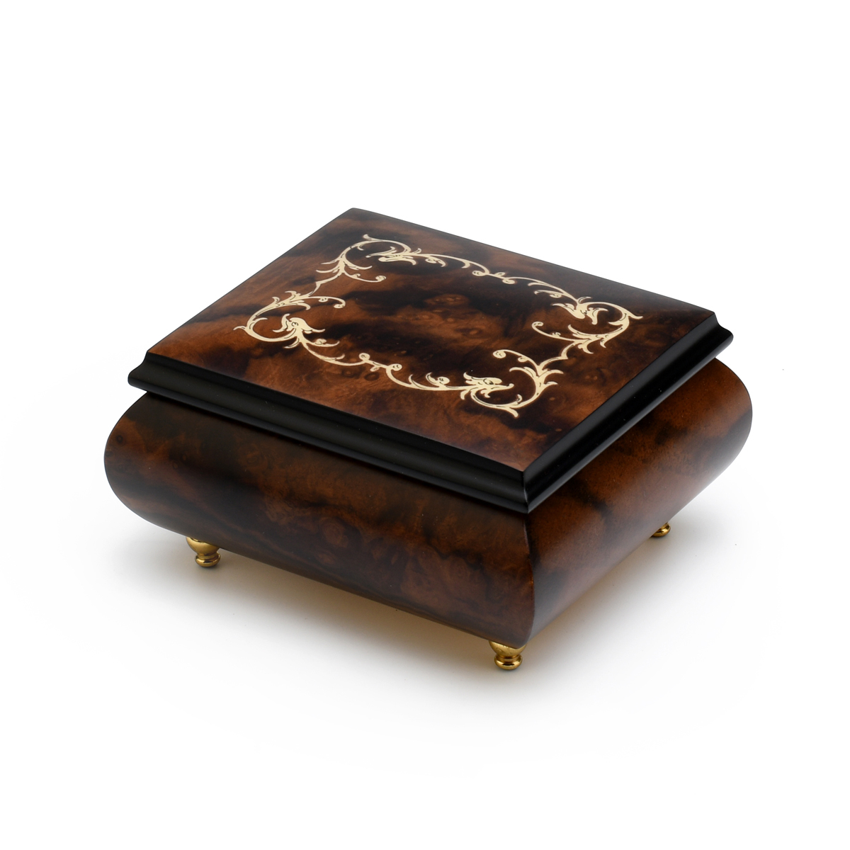 Classic Walnut Stain Arabesque Wood Inlay Music Box