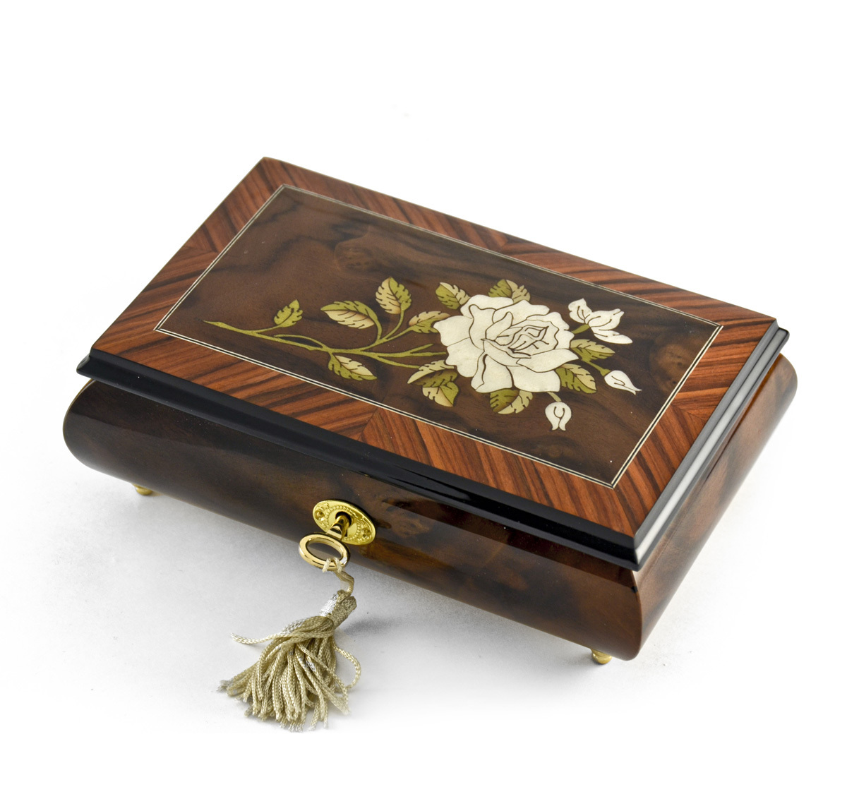 Exquisite 18 Note Single Stem White Rose Musical Jewelry Box
