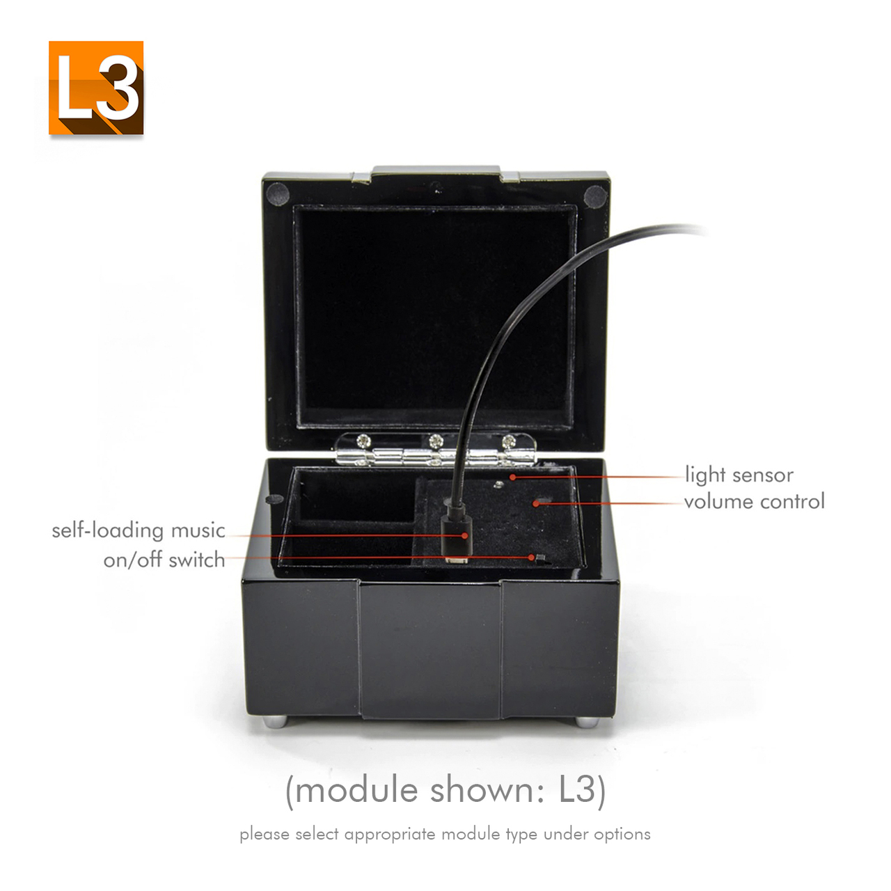 Modern Black Lacquer Custom USB Sound Module Jewelry Box with Chrome Accents