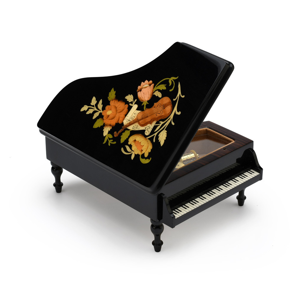 Gorgeous Black Lacquer Grand Piano with Violin and Floral Inlay Musical Jewelry Box