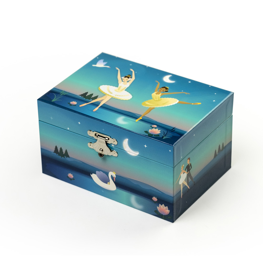 Petite Swan Lake Theme Spinning Ballerina Musical Jewelry Box Marlo by Mele and Co